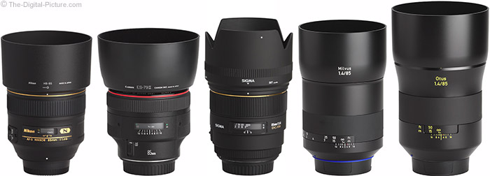Zeiss Milvus 85mm f/1.4 Lens Compared to Similar Lenses with Hoods