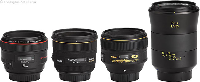Zeiss Otus 55mm f/1.4 Distagon T* Lens Compared to Similar Lenses
