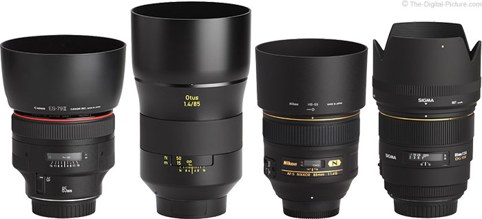 Zeiss Otus 85mm Lens Compared to Competing 85mm Lenses with Hoods Installed