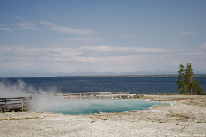 Black Pool Hot Spring and Yellowstone Lake