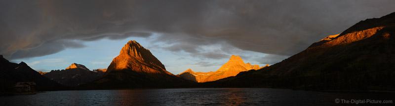 Swiftcurrent Lake Sunrise Panorama