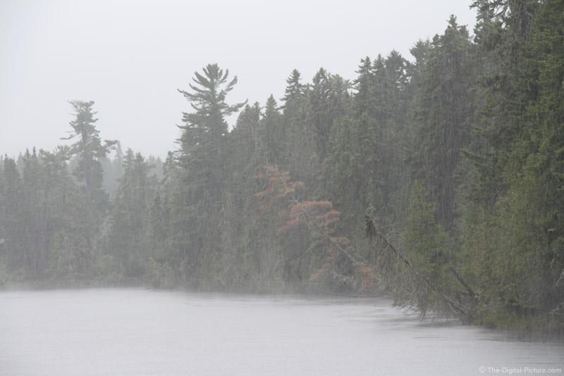 Heavy Rain over Northern Maine Lake