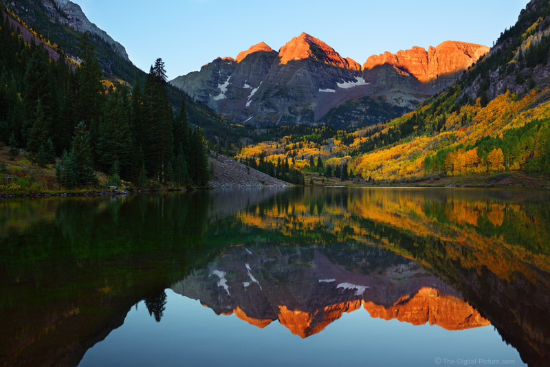 Striking Gold: Maroon Bells Peaks Reflecting in Maroon Lake