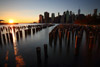 Pilings, Brooklyn Bridge Park, NYC Skyline at Sunset