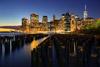Pilings, Brooklyn Bridge Park, NYC Skyline during Blue Hour