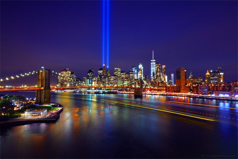9/11 Tribute in Light, Brooklyn Bridge, One World Trade Center and Manhattan