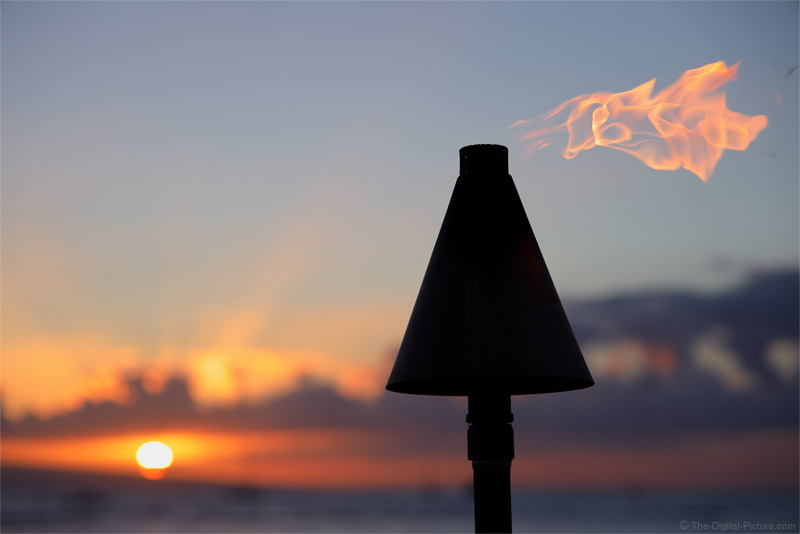 Maui Tiki Torch with a Sunset Background