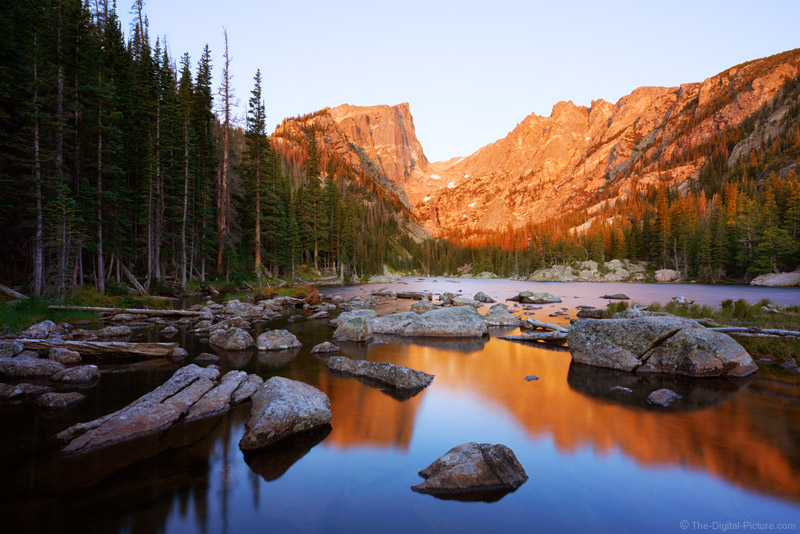 Hallett Peak Reflecting in Dream Lake at Sunrise, Rocky Mountain National Park