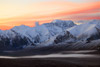 Sunrise behind the Alaska Range, Denali National Park