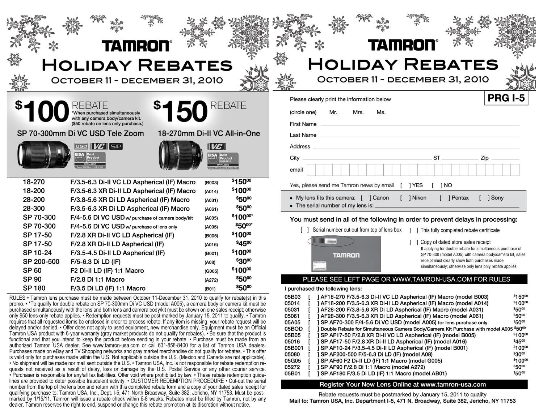 Tamron Lens Rebates (Page 2)